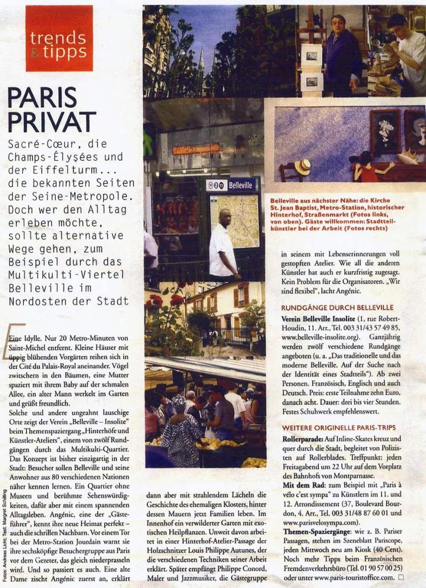 PRESS REVIEW « BELLEVILLE INSOLITE 2000 » - Paris Par Rues